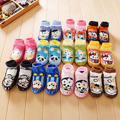 Unisex Anti-slip Baby Child Rubber Cotton Thick Slipper Floor Socks Shoes Boots