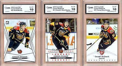 (3) 2014-15 Leaf - ITG Top Prospects - CONNOR MCDAVID - Rookie - GMA 10 Gem Mint