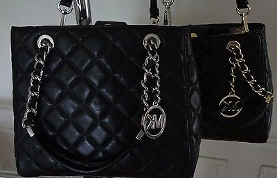 6bd410bbe898 NWT Michael Kors Susannah Small North South Tote Quilted Leather Black  $328+tax