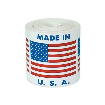 """Tape Logic Labels, """"Made in U.S.A., 2""""x2"""", 500/Roll"""