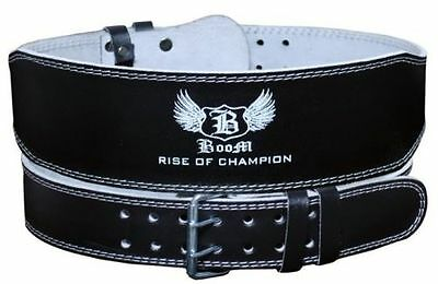 """BOOM Prime 4"""" Pure Leather Gym Belts Weight Lifting Back Support Bodybuilding"""