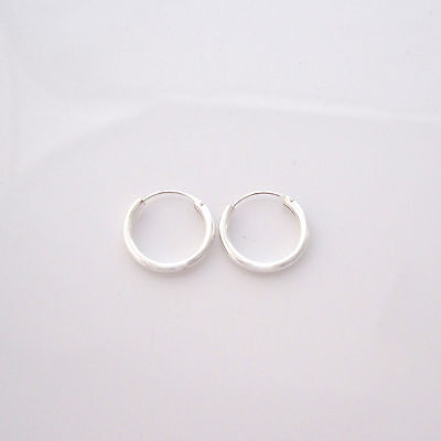 925 sterling silver 10 and 12mm plain hinged small sleepers hoops earrings