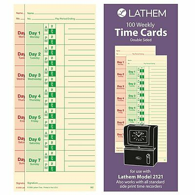 """Lathem Time Universal Time Card, 3-1/2"""" X 9"""", 2-sided, 100 Pack (lthm2100)"""