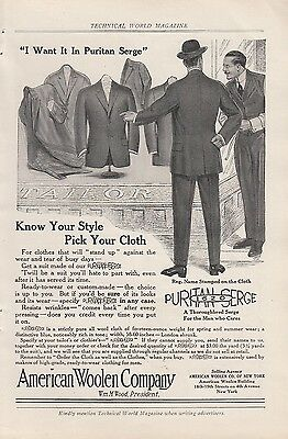1912 American Woolen Co New York NY Ad: Know Your Style Pick Your Cloth
