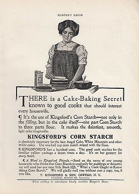 1909 T Kingsford & Son Oswego NY Ad: Cake Baking Secret Kingsford's Corn Starch