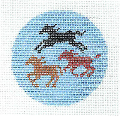 """Three Horses Galloping Design handpainted Needlepoint Canvas 3"""" Rd. Ornament LEE"""