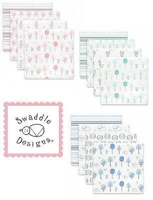 "SwaddleDesigns 100% Cotton Muslin Swaddle Blanket 46"" x 46"" ~NEW~ Cute Designs!"