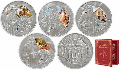 Belarus 2009 Three musketeers 4 Coin Set Large Antique Silver Color 20 R -Box