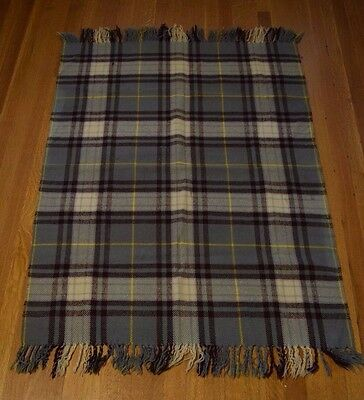 Vintage 100% Wool Fola Rug Plaid Fringed Made in England