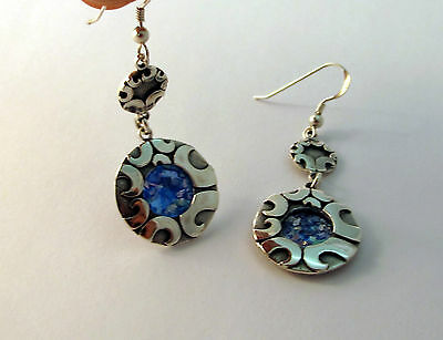 Beautiful New 925 Sterling Silver And Roman Glass Earrings Set Circular Design