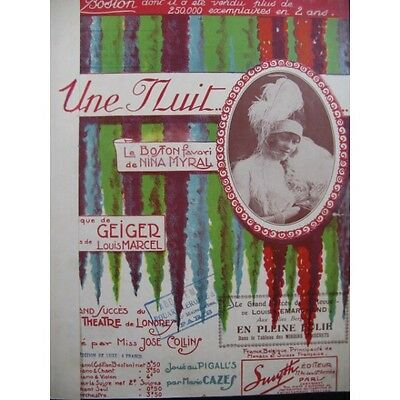 MYRAL Nina Une Nuit, 1920 Piano  Partition Sheet Music Spartiti Partitura