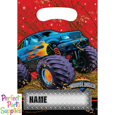 Monster Truck Loot Bags 8 Pack Mudslinger Birthday Party Supplies Treat Favour