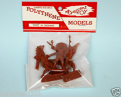 Crescent Toys Plastic 54mm Unpainted Indians in Repro 'Unbreakable' Header Pack