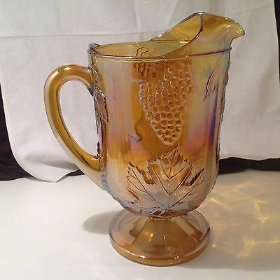 Vintage INDIANA CARNIVAL Glass Iridescent AMBER GOLD Lipped Pedestal PITCHER EUC