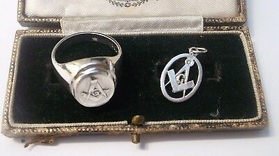 Masonic Silver Ring & Pendant Both Stamped Combined Weight 17.4g Ring Size V