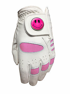 New Ladies Golf Glove. White / Pink. Size Large. Smiley Ball Marker.