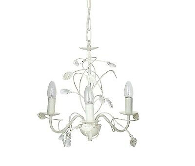 Shabby Chic Off White / Cream & Gold 3 Way Ceiling Light Jewel Chandelier NEW