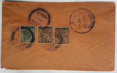 Burma 1937 Cover With Stamps Cancelled Bogale Postmark