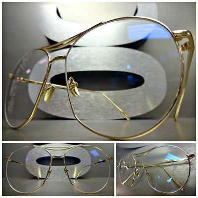 OVERSIZED CLASSIC VINTAGE RETRO Style Clear Lens EYE GLASSES Gold Fashion Frame