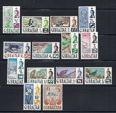 GIBRALTAR 1960 QEII definitives (SG 160-73) VF MH *read description*