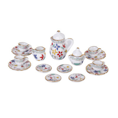 15pcs Dollhouse Miniature Dish Cup Plate Dining Ware Porcelain China Tea Set New