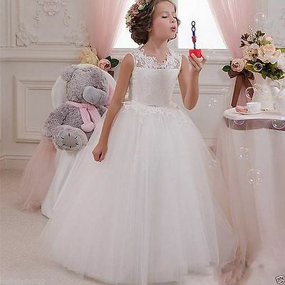 Tulle&lace Flower Girl Dress Birthday Party First communion Dress Prom Gown