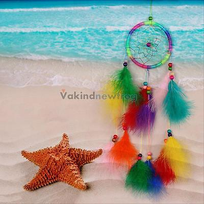 Colorful Dream Catcher with Feathers Car Wall Hanging Decoration Ornament Gift#V