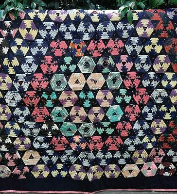 Silk Victorian Era Hexagon Log Cabin Trip Around The World Antique Vintage Quilt