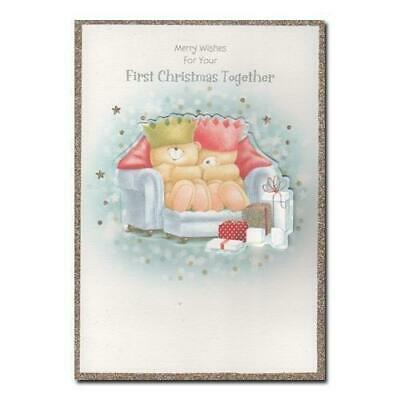 Forever Friends Card Medium 1st Christmas Cute Festive Greetings Together Xmas
