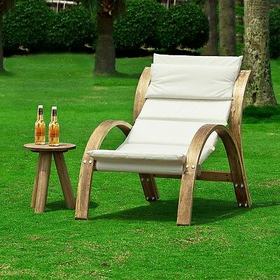 SoBuy Garden Patio Sun Lounger Bed Recliner Chair with Cushion, OGS24-K-W, UK