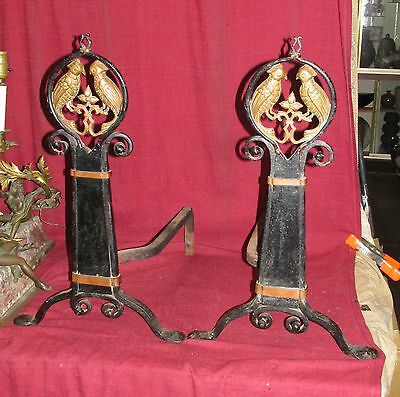 Pair Art Deco or Arts and Crafts Andirons with Bronze Parrot Wrought Iron