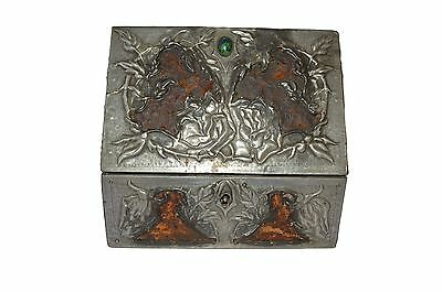 Antique French Victorian Gothic Pewter Casket Jewelry Box Case - Tin & Leather
