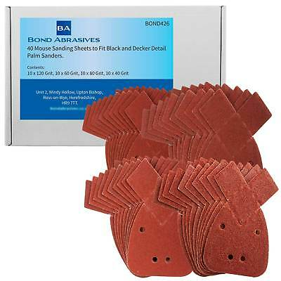 40 Bond Mouse Detail Sanding Sheets to Fit Black and Decker Palm Sander All Grit
