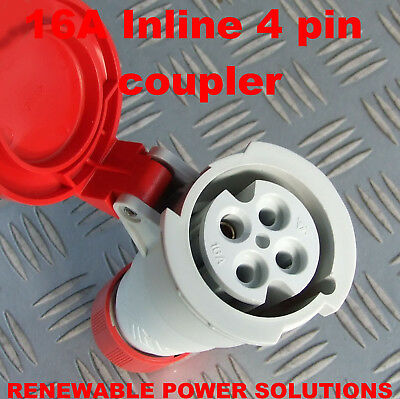 16 AMP 415V INLINE 4 PIN SOCKET RED 3 PHASE 16A IP44 MACHINE COUPLER 3ph w/shop