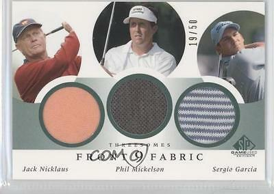 2002 SP Game Used Edition #F9T-NM Jack Nicklaus Phil Mickelson Sergio Garcia 2e6