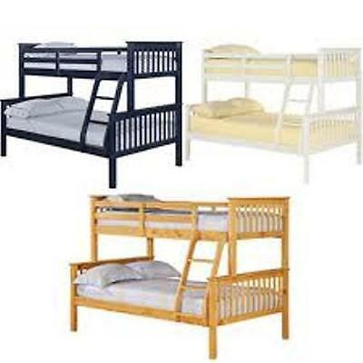 Triple Trio Childrens Kids Bunk Bed - 4ft Double & 3ft Single - Separable - Wood