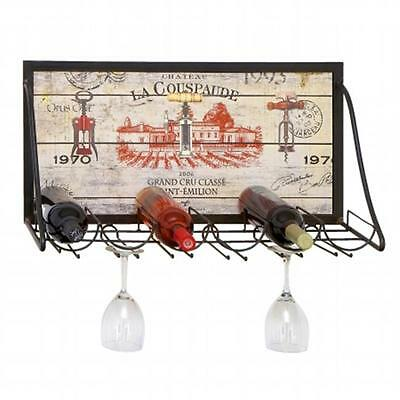 Urban Designs Chateau La Couspaude Metal Hanging Wine Rack 6 Bottle Display