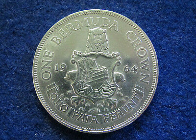 1964 Bermuda Silver Crown - Bright Uncirculated - Free U S Shipping