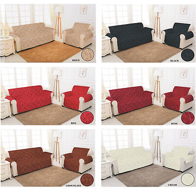 Sofa Slip Cover Quilted Damask Jacquard Pet Protector Chair 1,2,3 Seater Throw