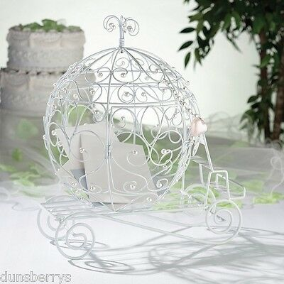 Fairy Tale Cinderella/Princess Coach/White Beaded Wedding Card Post Box/Holder
