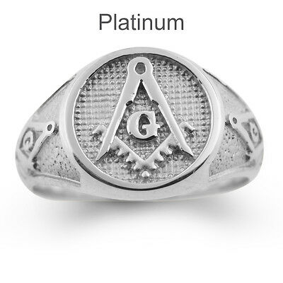 Solid Platinum 950 Masonic Ring Freemason Master Mason High Quality Filled Back