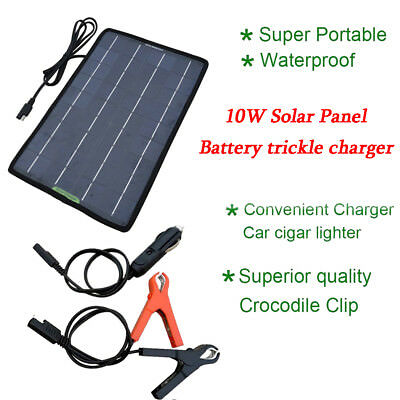 12V 10W Power Solar Panel Trickle Battery Charger for Car SUV Truck Boat Caravan