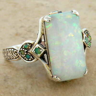 Lab Opal Antique Victorian Style .925 Sterling Silver Ring Size 4.75,       #462