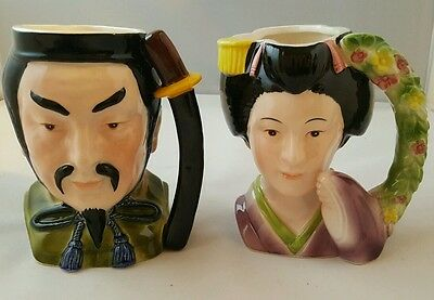 Rare Vintage Shafford Japan  Shogun Family Geisha & Samurai  Set - Hand Painted