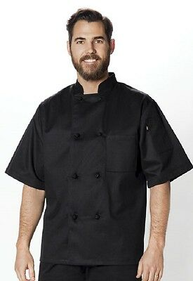 Dickies Unisex Classic Knot-Button Chef Coat Black  DC48 BLK FREE SHIP!