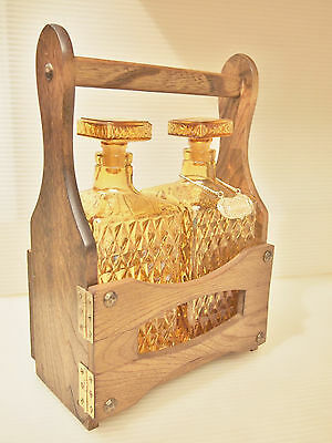 Mid-Century Bar ware Tantalus Vintage Wooden Caddy Holder & Pair of Amber  Glass