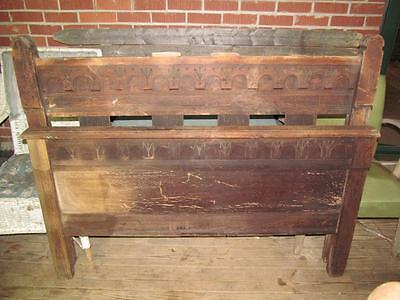 Vintage Old Ornate Carved Full Size Bed Frame Head Foot Board