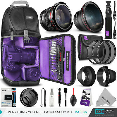 Canon Rebel T5 / T3 Basics Accessory Kit - Bag, Lens, Filters & Battery Included