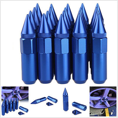 20 Blue Spiked Aluminum Extended 60Mm Lug Nuts Wheels / Rims M12X1.5 Jdm Racing