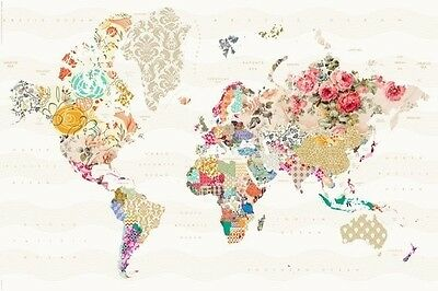 World Map In Patterns -  Look - Poster (61X91Cm) New Wall Art